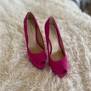 Shoe Dazzle - Neon Pink Peep Toe Pumps - 8.5